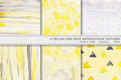 6 Watercolour Textures Yellow Gray by AzmariDigitals on Creative Market
