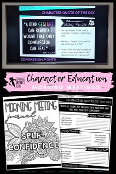 Character Education Morning Meeting Digital Whiteboard and Printable Journal BUNDLE, ideal for social and emotional learning. This bundle includes morning meeting day starters on: resilience, courage, self-confidence, self-respect, tolerance, leadership, respect, empathy, honesty and compassion. So help build your students' character in 5 minutes every day, and encourage them to be all that you know they can be! Teaching Character, Character Education, Character Development, Personal Development, Life Skills Lessons, Health Lessons, Social Emotional Learning, Social Skills, Citizenship Education