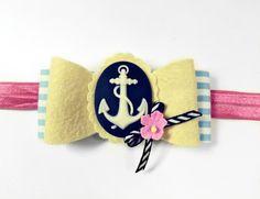Anchor Headband - Wool Felt Bow  - Baby Bow Headband - Nautical Headband via Etsy