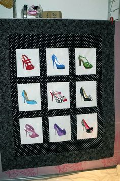 shoes are painted onto the blocks - cool quilt