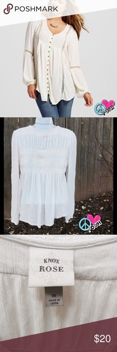 Gauzy Light Weight Long Sleeve Knox Rose Top Vintage Inspired Gauzy Light Weight Long Sleeve Knox Rose Top from Target Size M  Cream Colored.. Loose & gathered with Button Down Front 💗 Gently Loved in Good Condition 💗  ❌❌NO TRADE ❌❌ Knox Rose Tops Blouses