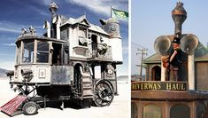 """Built 2006 for Burning Man, in a celebration of """"an era that never was,"""" this a 3-story Victorian mansion on wheels is the Neverwas Haul. It was built with 75% recycled materials, on the base of a fifth wheel travel trailer, measuring 24 feet long by 24 feet high and 12 feet wide. This Jules Verne-style vehicle is filled with steampunk artifacts.**15 High-Dollar Hacks: Steampunk Home Hacks & Vehicle Mods 