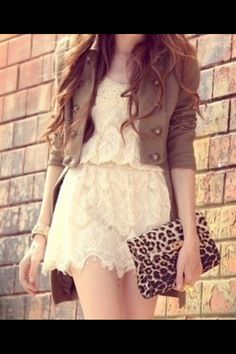 Green military jacket with white lace dress make an adorable outfit in the fall! Cute Dresses, Short Dresses, Casual Dresses, Floral Dresses, First Day Of School Outfit, Vestido Casual, Glamour, Favim, Swagg