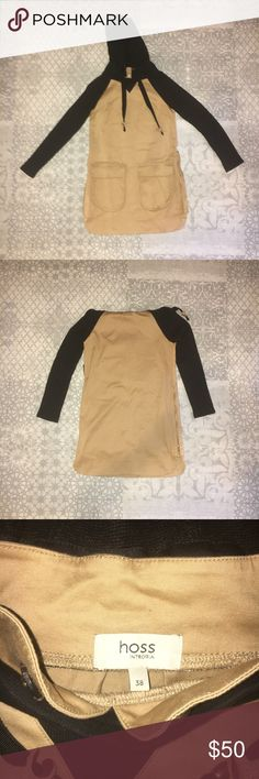 Hoss Intropia Tunic with Hood Made by Hoss Intropia of Spain, now known in Anthropologie as Intropia.  Beautiful beige and black tunic, with fully functional zippers along the sides and a hood that can be removed with buttons (see pics).  Preloved, however in excellent condition and very well made. Tons of life left, I just never seem to wear it.  100% cotton  Size 38 (fits a size small) Hoss Intropia Tops Tunics
