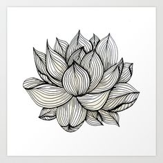 Lotus Flower, Black and white, Nature, Organic design, drawing, abstract, unique, lines, pattern, Art Print by Treelovergirl - $17.68