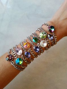 Celestial Collection - Swarovski Crystal Chain Bracelets - Layering jewelry