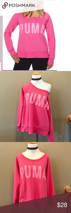 Puma Crewneck sweatshirt In great condition.Hot pink.Moisture wicking, naturally dry. This product contains CleverDRY Technology, which is a moisture wicking technology that helps sweat evaporate quickly. PUMA Cat Logo at back neck Distressed PUMA graphic print on chest Split outseam hem Ribbed collar and cuffs Semi-fitted Wide neckline French terry with moisture-wicking finish Puma DryCELL technology Imported Content: 68% Cotton 25% Polyester 7% Elastane   XL = 24 inches Puma Tops…