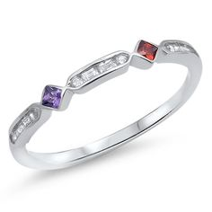 2mm Half Eternity Stackable Band Ring Multicolored Princess Cut Bezel Amethyst Garnet Round Baguette Diamond CZ Solid 925 Sterling Siver