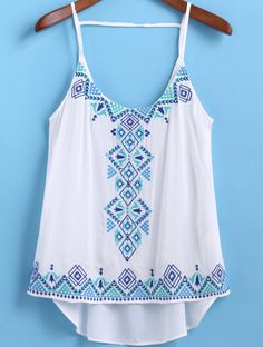 White Spaghetti Strap Embroidered Dip Hem Cami Top 12.83