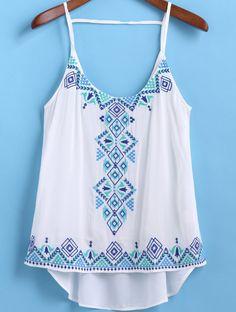 Top verano, blanco y azul.