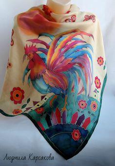 Купить Батик платок Доброе утро - комбинированный, рисунок, платок с петухом, петух символ 2017