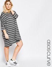 ASOS CURVE Oversized Stripe T-Shirt Dress