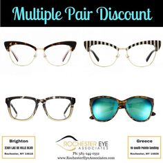 Can't decide which color to get? Get them all! Maybe some sunglasses too! Purchase a complete pair of glasses and receive 30% off any additional pairs of equal or lesser value for yourself. Not ready to make that decision today? That's okay you have 30 days!! #Discount #RochesterEyeWear #RochesterEyeAssociates Cannot be combined with VSP/EYEMED