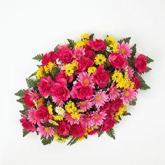 Premium Rose Headstone Spray with Fuchsia and Yellow Flowers - 36 Inch