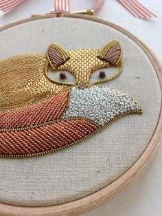 Gorgeous Gold Work Fox from the Royal School of Needlework Ribbon Embroidery, Cross Stitch Embroidery, Embroidery Patterns, Crewel Embroidery, Diy Broderie, Gold Work, Textile Art, Needlework, Sewing Projects