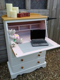 Beautiful Solid Pine Shabby Chic Writing Bureau / Desk with Drawers. Painted with Annie Sloan chalk paint. Another beautiful piece from Chic Boutique Furniture in Leicester