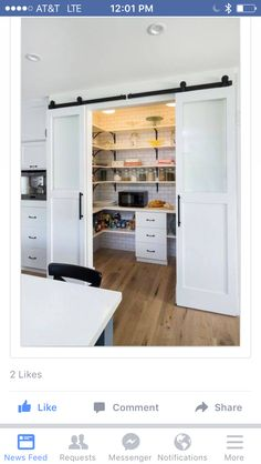 gorgeous walkin kitchen pantry would not do the sliding barn style doors