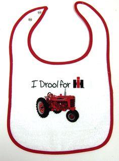 `I Drool for IH` featuring a  Farmall M,  Baby`s Bib
