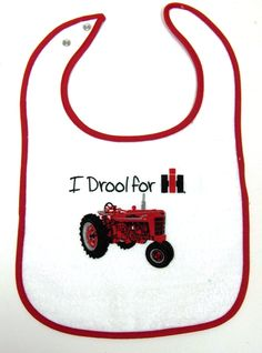 `I Drool for IH` featuring a  Farmall M,  Baby`s Bib