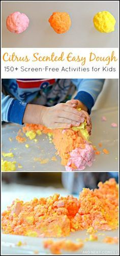 Citrus scented easy dough - sensory play for toddlers and preschoolers {150+ Screen-Free Activities for Kids Book Review} from And Next Comes L