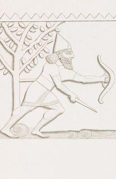 Impressão artística sobre relevo em pedra retratando guerreiro assírio