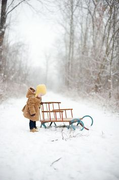 now I need a classic looking sled. Because one day we will have a real winter and we will have snow at the cabin. On that day I WILL get a pic similar to this with my kids! Winter Szenen, I Love Winter, Winter Magic, Winter Is Coming, Winter Season, Winter Christmas, Baby Winter, Winter Colors, Winter Child