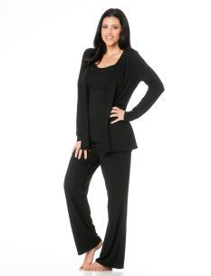 Best PJs ever...I'm buying more before I have the baby! Motherhood Maternity Lace Trim Nursing 3 Piece Set
