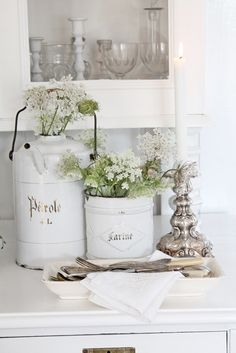 Classic vintage containers with fresh wildflowers-so pretty for spring entertaining! | VIBEKE DESIGN