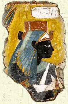 Ahmès-Néfertari I déifiée - Plâtre peint de la tombe de Nebamon et Ipouki (TT181) - Kestner Museum - Hanov