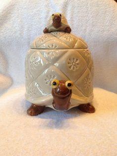 Vtg Two Turtle Baby Cookie Jar OMC Otagiri Japan