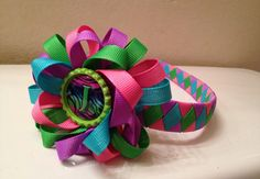 Rainbow Initial Woven Headband with by pinkpolarisboutique on Etsy, $12.50