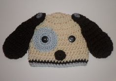 Crochet baby boy blue puppy dog hat photo prop