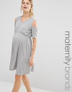 Bluebelle+Maternity+Cold+Shoulder+Skater+Dress