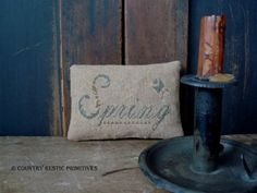 Primitive Spring Pinkeep Cross Stitch E Pattern by countryrustic, $7.00