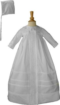 $184.99-$183.50 Baby Gorgeous traditional cotton sateen bishop's gown ornamented with venice lace and pin tucking on the gown and long sleeves. Includes matching hat. 100% cotton. Hand wash. Hand made in the U.S.A. Shipped with elegant padded hanger and zippered vinyl bag. Heirloom Preservation Bag recommended for long term storage. Sizes: 3, 6, and 12 month.