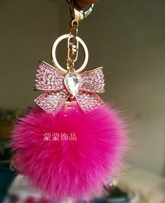 Rhinestone bow keychain fox fur bag zircon male women's car keychain-inKey Chains from Apparel & Accessories on Aliexpress.com