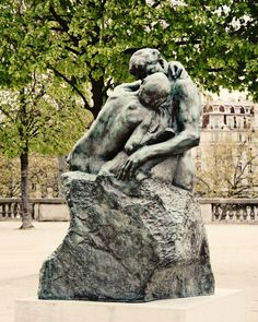 Paris Photography - Romantic Kiss Print - Tuileries Gardens Photograph - Rodin Sculpture Photo - French Green - Engagement Valentines Gift