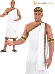 Mens Julius Caesar Costume Roman Toga Greek Adult Fancy Dress Outfit M L XL