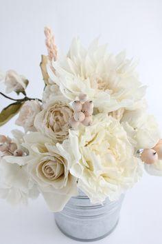 Gumpaste flowers - spray rose, berries, dahlia, rose, peony, celosia, leaves // sugar flowers bouquet