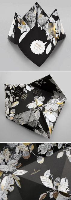 Mulberry origami fashion week invitation - dark floral luxury wedding invitation inspiration