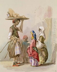 A Painting of a Pot Seller in Turkey in the 19th century, by Amadeo Preziosi, 1850s
