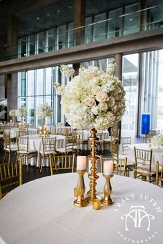 Real Wedding: A STYLISH SOIREE: April 2014 Blush and Gold, Soft and romantic flowers, personalized styled details. Centerpeices