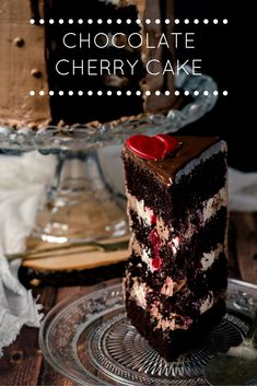 """Chocolate Cherry Cake: THIS recipe has several different parts to it {HINT: """"Time Consuming"""" } - Good one to DO for a Holiday or B-day ♦♦ #cakes #pastrychef #desserts"""