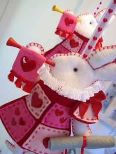 Nursery Mobile  White Rabbit in court  pink and by lilliputloft, $59.00