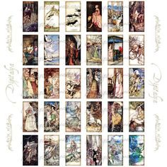 Printable Domino Tiles   Fairy Tales Extravaganza 5 - Domino 1x2 Tiles Digital Collage Sheet ... Printable Scrabble Tiles, Printable Art, Free Printables, Free Collage, Digital Collage, Domino Crafts, Tile Covers, Book Necklace, Graphics Fairy