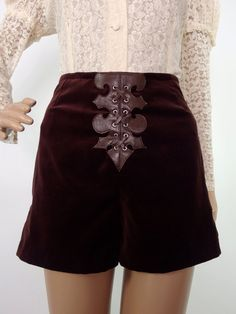 HUZZAR DESIGN 70s Style Chocolate Velvet Hotpants with Medieval Applique Detail
