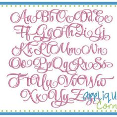 1031 Elizabeth Embroidery Font in bx, pes, dst and jef digital design for embroidery machine by Applique Corner
