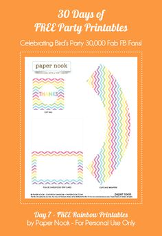 Bird's Party Blog: 30 Days of FREE Party Printables: Day 7 - Rainbow Party Printables from Paper Nook