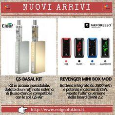 NUOVI ARRIVI su EcigSolution.it: GS-BASAL KIT di Eleaf e REVENGER MINI Box Mod di Vaporesso. Clicca qui per tutte le novità--> http://www.ecigsolution.it/nuovi-prodotti