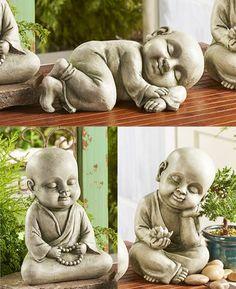 Baby Buddha Garden Statues, Individually Sold Three different baby Buddha statues add childlike whim Baby Buddha, Little Buddha, Outdoor Statues, Garden Statues, Buddha Sculpture, Garden Sculpture, Pottery Sculpture, Buddha Art, Buddha Statues
